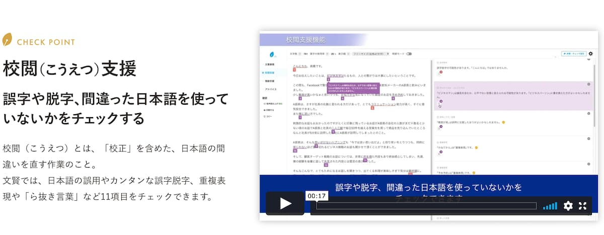 校閲支援機能【間違った日本語のチェックが出来る】