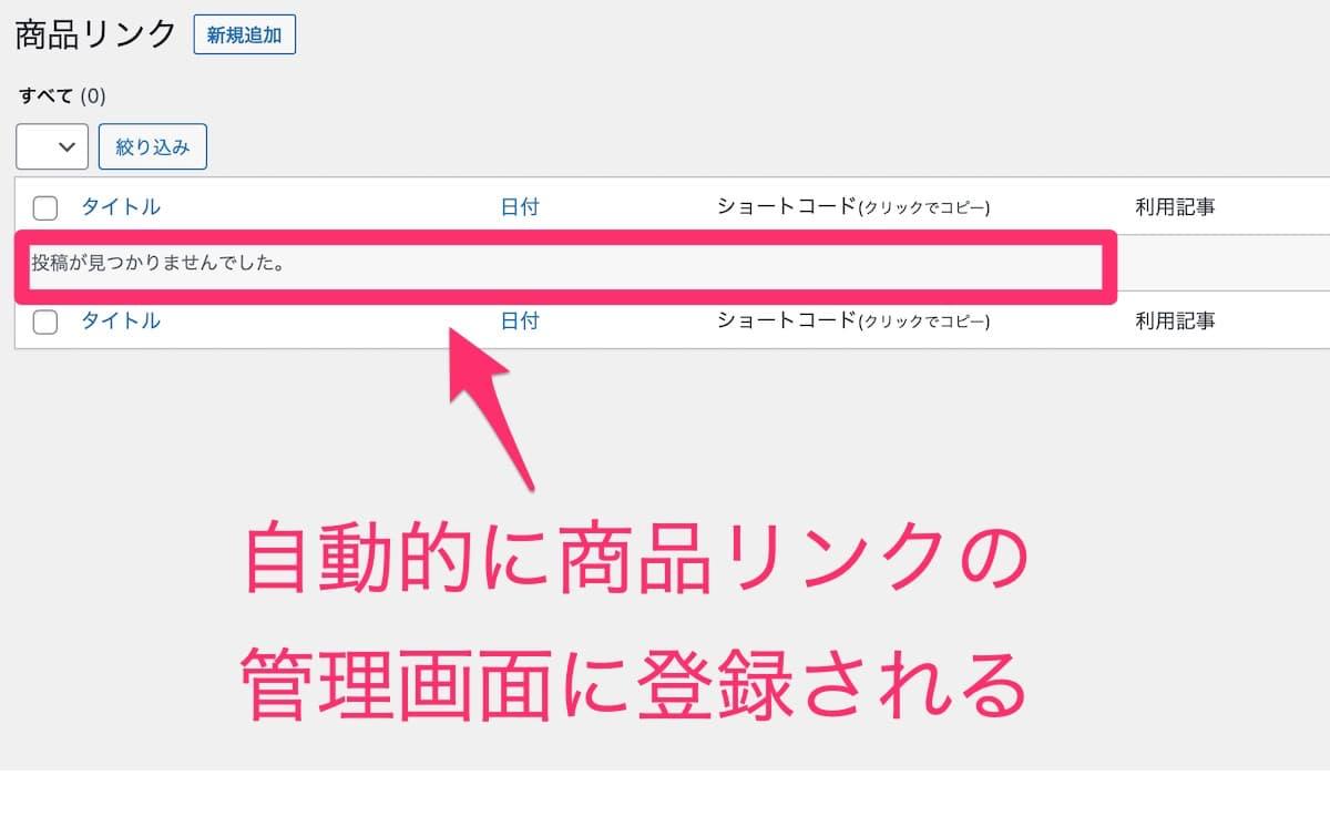 Rinkerの商品リンク管理画面